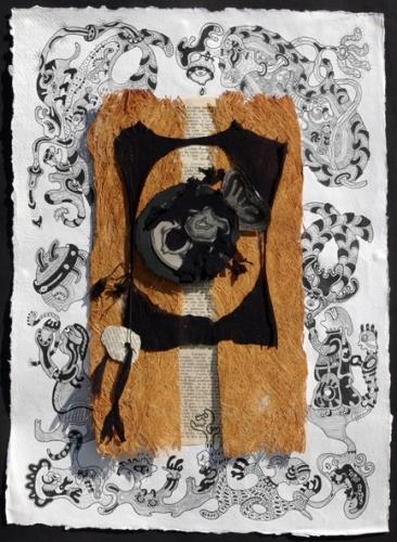 Marie-Jeanne Faravel, Mes petites histoires,43x39, encre, matériaux divers et points de couture, 2010.JPG