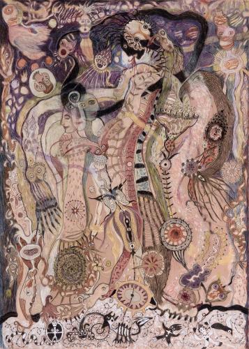 Solange Knopf Dessins 2015, Crayons de couleurs sur papier fibre de bambou 109 x 79 cm Ph Luc Shrobilgten.png