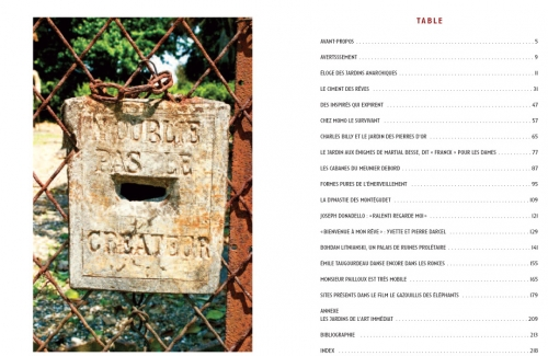 Table des matières de L'Eloge des Jardins anarchiques, Ed. de L'Insomniaque.jpg