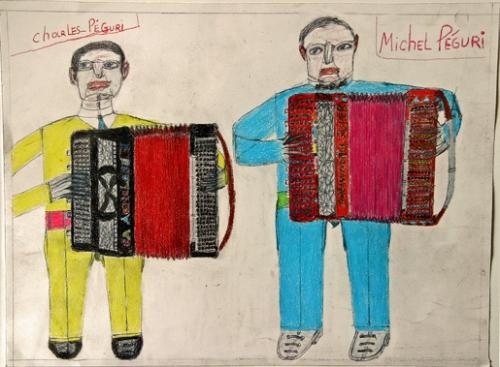 Oskar Haus,les frères Péguri, pastel et crayon sur papier, vers 2009.jpg