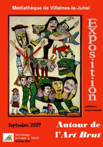 Affiche autour de l'art brut à Villaines-la-Juhel, septembre 2009.jpg