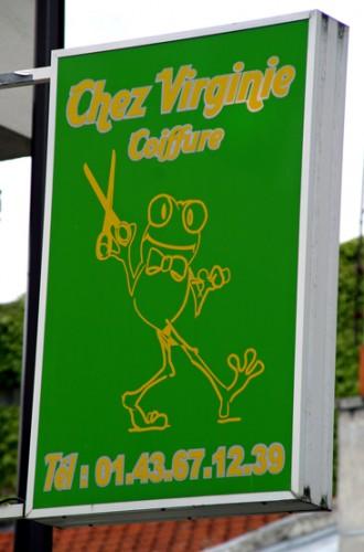 Enseigne du Salon de Coiffure chez Virginie avec une grenouille, ph.Bruno Montpied, 2009.jpg