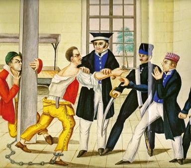 Planche du livre du bagnard Clément,révolte des bagnards Myard et Picon (détail).jpg