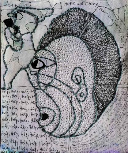 marie audin,création franche,art brut,art immédiat,art singulier,acupuncture,sutures,dermatologie,peaux,pores,aiguilles,seringues,pointillisme