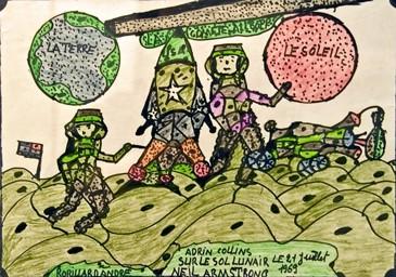 André Robillard, dessin aux feutres, expo Musée de la Création Franche, avril 2009, ph.B.Montpied.jpg