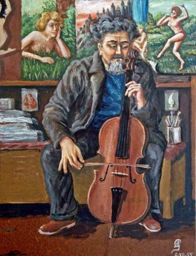 armand Goupil, Autoportrait au violoncelle, 1955.jpg