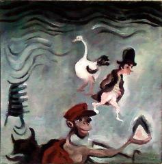 Napoléon et son autruche, 30x30,H sur toile.jpg
