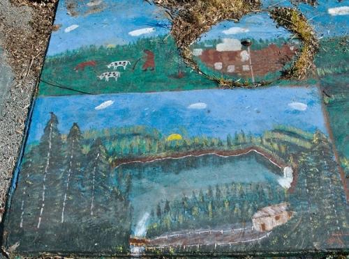 Paysages champêtres, peintures sur ciment au sol (2).jpg