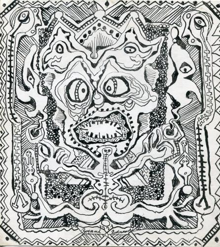 Raymond Reynaud (2), Serie Pépettes, Masques et Vieux n°4, 24x22cm, 30 janvier 1991.jpg