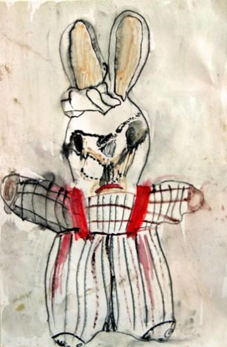 Bruno Montpied, dessin d'après doudou-lapin,Cézallier,vers 2003.jpg