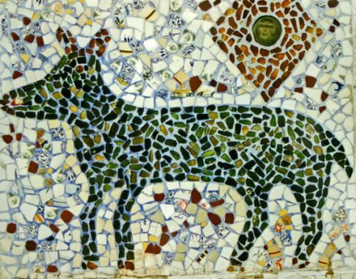 Da Costa, Dives-sur-Mer, mosaïque sur le mur donnant sur la rue, ph B.Montpied, 1997.jpg