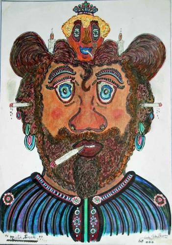 charles cako boussion, musée de la création franche, représentant de commerce, art brut, enluminures brutes, ornementation automatique, mur d'antoine gentil