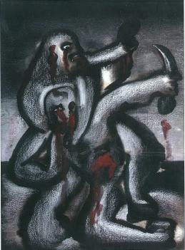 J. Reumeau, Combat-duel,  gouache, craie blanche, pastel, 1974 sur papier.jpg