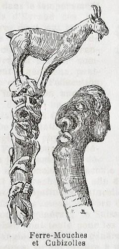 Ferre-mouches et Cubizolles, deux détails de sculpture sur bois, selon P.Mamet, Almanach de Brioude,1924.jpg