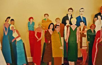 Guy Brunet, silhouettes peintes de personnalités du cinéma hollywoodien, Rencontres autour de l'Art Singulier au MIAN de Nice, 2005.jpg