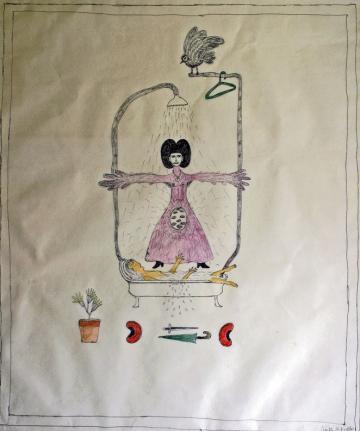 Marilena Pelosi, L'Effet Bienfaisant de l'Eau Tiède, 1999, crayons de couleur et stylo sur papier calque, 66x77 cm, coll.privée, photo Bruno Montpied.jpg