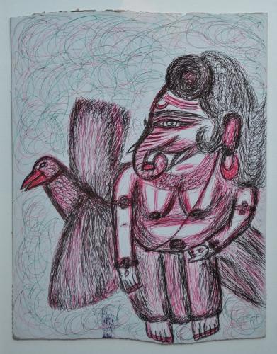 Kashinath Chawan (2), sans titre (Ganesha), 32x24 cm, stylo bic sur carton, ss date.jpg