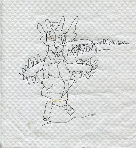 André le Marsien (2), Bonjour MARSIEN, dessin sur nappe en papier, 2016, coll BM.jpg