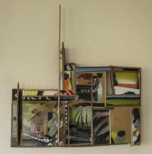 art contemporain,darnish,cinéma et collage,constructivisme,schwitters,ruines en bouteilles,art de l'assemblage