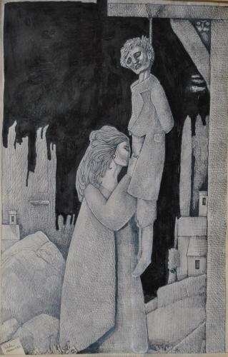 Alfred Flöki, (2) encre et plume sur papier, 42x29,5cm,1982, coll.B.M..jpg