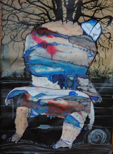 L'enfant bleu (2) dans le désert noir, 36x27 cm, 2015.jpg