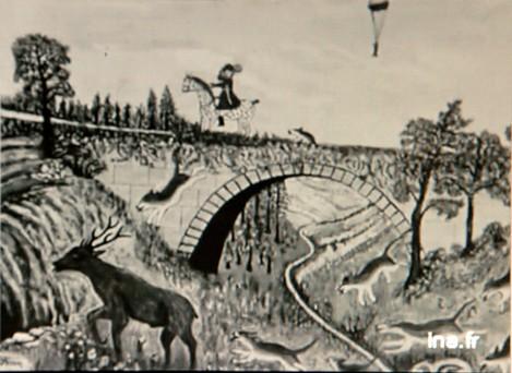 Tableau de frédéric Séron, chasse à courre, extrait du documentaire de Pierre Dumayet, Ina.fr.jpg