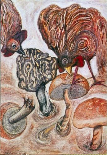 Les coqs mangeurs de champignons,95x75cm, pastel, MANS de Laval.jpg
