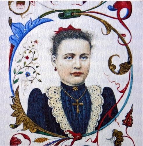 Augustin Gonfond, portrait de sa fille Joséphine dans une enluminure, 1895 (2).jpg