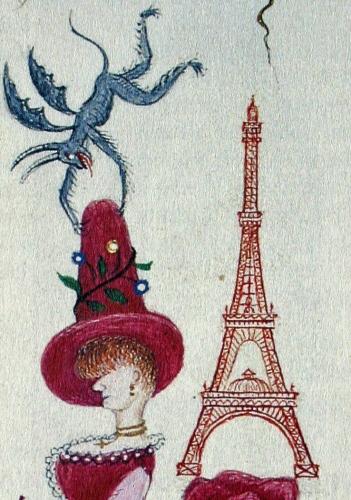 Augustin Gonfond, la Parisienne et la Tour Eiffel, Livre de communion enluminé de Joséphine, 1890.jpg
