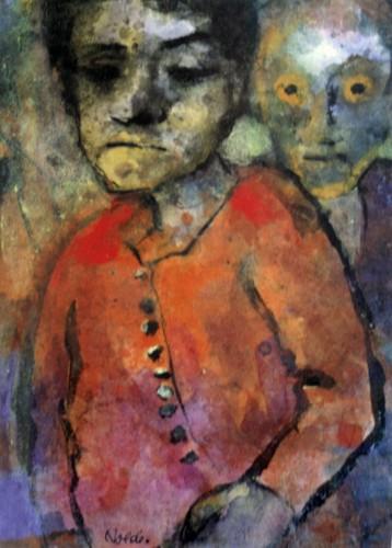 Emil Nolde,Deux personnages, aquarelle, N°inv.Ung.493, Fondation Nolde de Seebüll, expo du MASC des Sables d'Olonne, été 2008.jpg