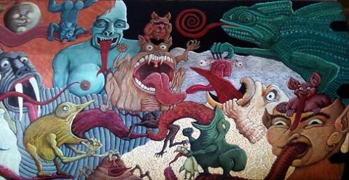 Anonyme, couvercle de coffre peint, 2010, ph. Bruno Montpied.jpg