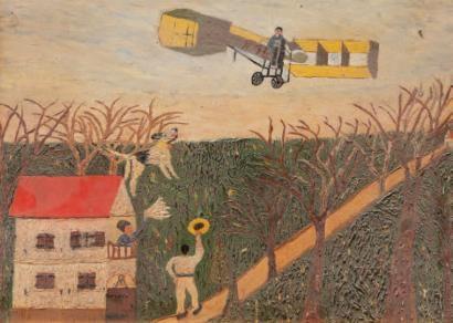 Avion ds un paysage, huile s carton, 39x48,5 cm.jpg