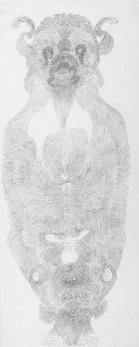 Guo Fengyi sans titre, 2004, encre de Chine sur papier de riz, 233 x 97 cm.jpg