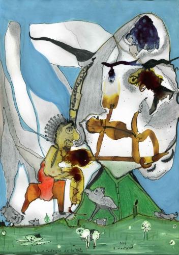 bruno montpied,têtes,montagnes,art singulier,pas du diable,mercantour,diable,vallée des merveilles,woodstock