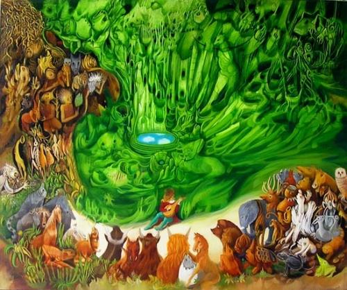 serge karine, orphée charmant les animaux, jean hazéra, art inclassable, peintures inclassables et étranges, art naïf insolite
