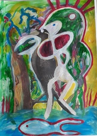 art en commun, art collectif, cadavres exquis, modification, cobra, surréalistes, asger jorn, situationnistes, muralisme, expérimentation artistique, bruno montpied, petra simkova, josé guirao, peinture caviardée