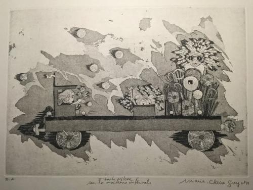 Marie-Claire Guyot (2), A tte vitesse sur la machine infernale, pointe sèche, 1971.jpg