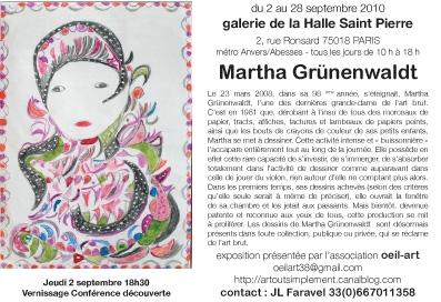 Verso carte d'invitation à l'exposition Martha Grünenwaldt organisée par Oeil-Art à la Halle Saint-Pierre en septembre 2010.jpg