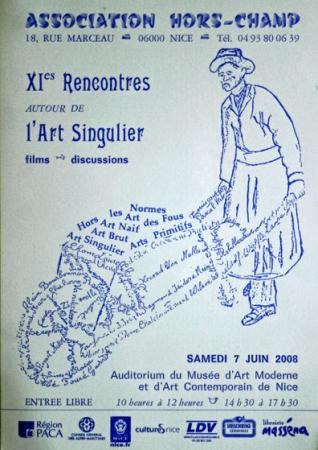 Affichette des XIes rencontres autour de l'Art singulier à Nice le 7 juin 2008.jpg