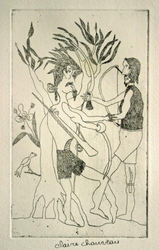Claire Chauveau, gravure aux chasseurs, vers 1995, ph.B.Montpied.jpg
