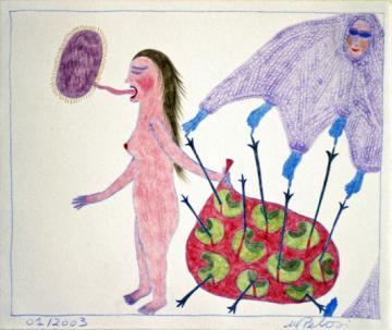 Marilena Pelosi, dessin aux crayons de couleur sans titre, 15x17 cm, janvier 2003, coll.privée, photo Bruno Montpied.jpg