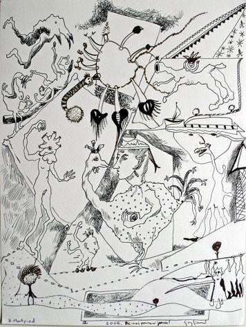 Guy Girard,Sabine Levallois, Bruno Montpied, dessin collectif, 2004, photo B.Montpied.jpg