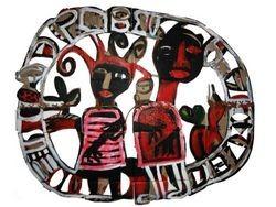 Toyin Loye, Amants, 2006, Acrylique,fibres de coco sur carton, Galerie Saatchi, Londres.jpg