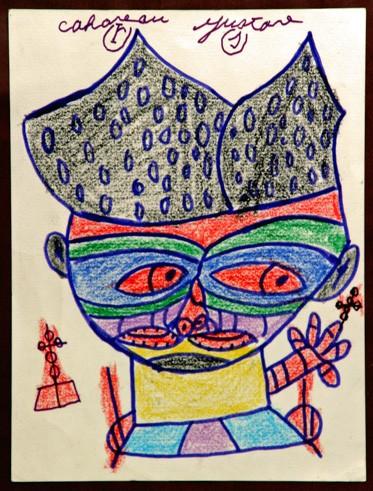 Gustave Cahoreau,dessin sans titre,crayons de couleur, coll.Jean-Louis Cerisier, ph.Bruno Montpied.jpg