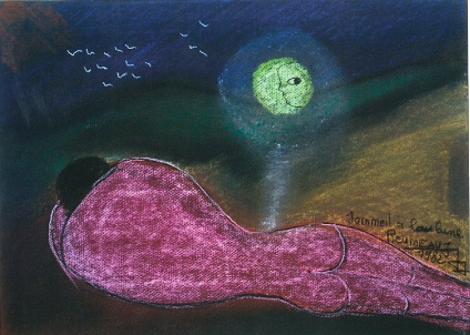 Sommeil à la lune, pastel sur papier, 1982.jpg