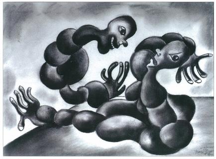 Accouchement, pastel et fusain sur papier, 1986.jpg