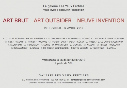 galerie les yeux fertiles, art brut, art outsider, neuve invention, schrder-sonnenstern, 