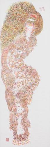 Guo Fengyi, sans titre, vers 2002, encre de couleur sur papier de riz, 213 x 69 cm.jpg