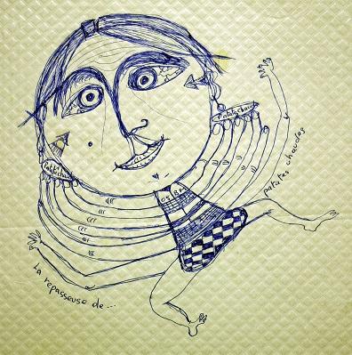 La repasseuse de patates chaudes (2), dessin au stylo sur nappe de papier, 2005.jpg