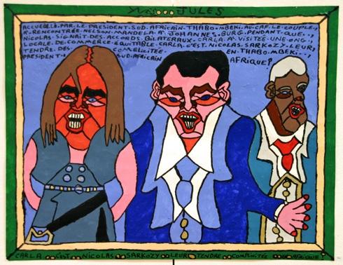 Yves Jules, Carla C'est Nicolas Sarkozy leur tendre complicitée en Afrique, exposition musée de la Création Franche 2009, coll. Bruno Montpied.jpg